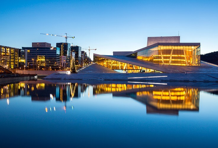 Modern design building lighted up at night