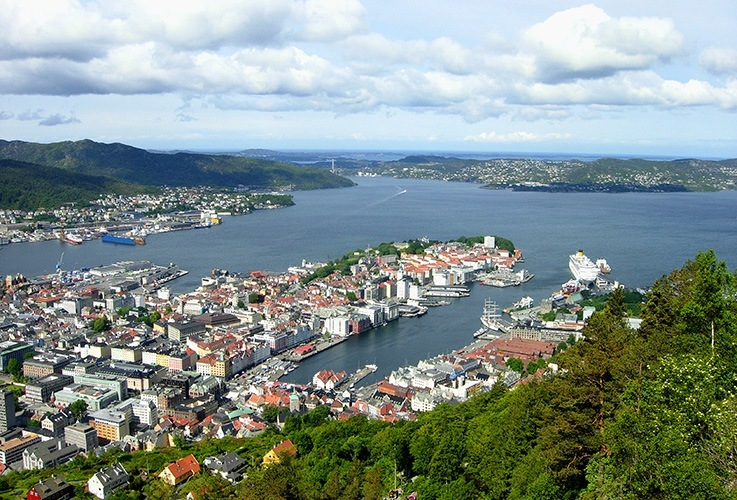 Scandinavian city overlooking water