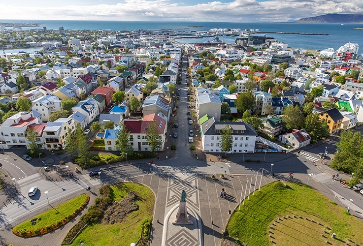 Scandinavian city on the water front