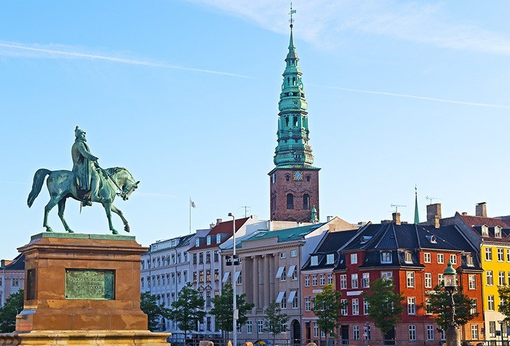 City skyline and horse statue