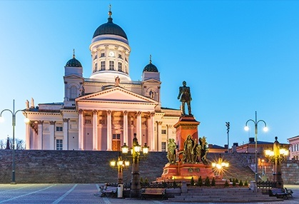 Helsinki senate square at nighttime