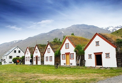 Row small cottages