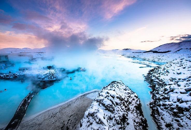 Snowy water landscape