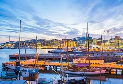 View of Norwegian city over water