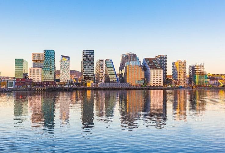 Norwegian skyline over water