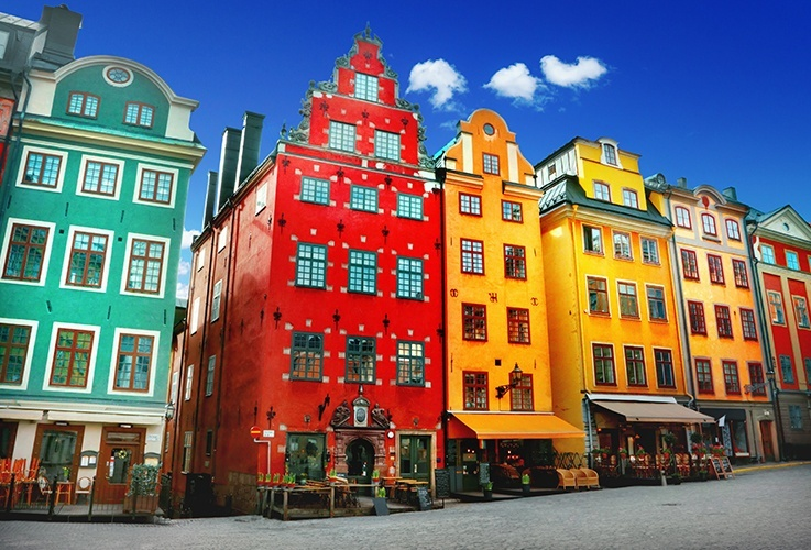 Uniquely shaped and colored row of buildings in Gamla Stan, Stockholm