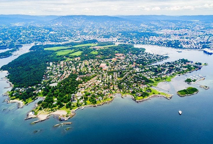 Aerial view of Bygdoy Island in Oslo