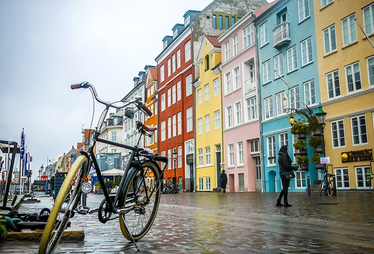 Row of multicolored buildings in Copenhagen