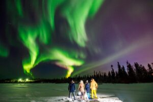 multi color northern lights show