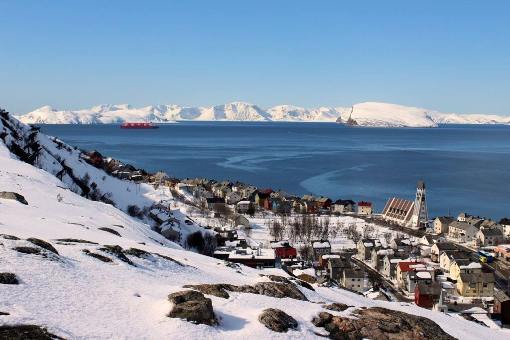 Sunny winter day in Hammerfest, Norway - March 2018